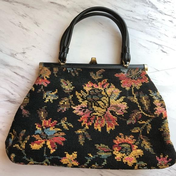 Vintage Handbags - Vintage Floral Carpet Frame Bag